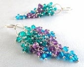 Reserved For Pam - Amethyst, Teal Quartz and Caribbean Blue Quartz Earrings- Colorful Cluster Earrings Quartz Waterfall Earrings