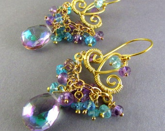 Mystic Quartz, Pink Amethyst and Apatite Chandelier Earrings, Exotic, Boho