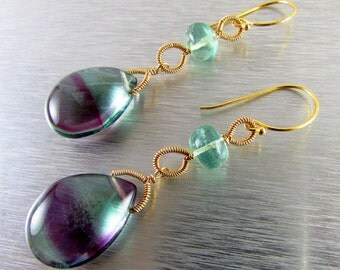 Fluorite and Gold Filled Wire Wrapped Earrings