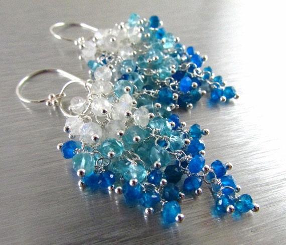 Neon Blue Apatite Aqua Apatite and Moonstone Earrings