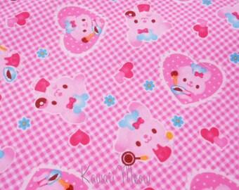 "Scrap - Rabbits Heart Gingham Check - 110cm/43""W x 60cm/23.6""L (12ko0126)"
