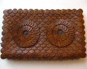 Rare Vintage Folkart Owl Purse Clutch