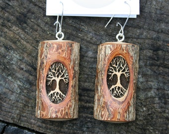 RESERVED FOR MELANIE Wood Tree of Life Earrings- in Sassafras Wood- Wooden Jewelry, Boho Jewelry
