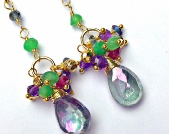 Mystic Topaz Earrings Long Dangle Multicolor Gemstone Cluster Sterling Silver Wire Wrapped Colorful Rainbow Gemstones