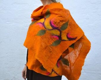 Wool Shawl Felted on Silk , Orange Wool and Silk Shawl