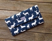Navy Blue and Coral Deer Diaper Clutch with Changing Pad - Gender Neutral - Baby Shower Gift - Boy - Girl