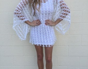 vintage white summer batwing mini dress beachcover size xs or small