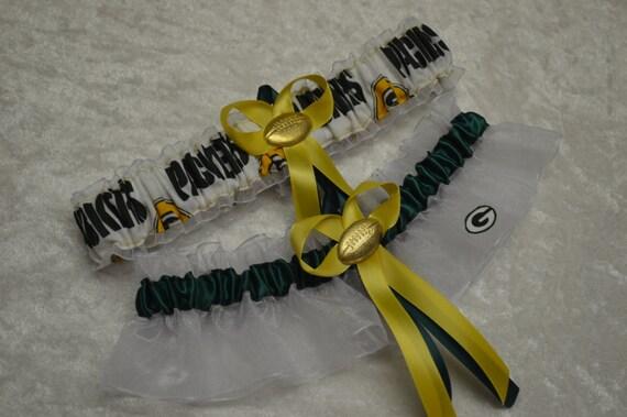 Handmade wedding garters keepsake and toss wedding garter set GREEN BAY PACKERS bridal set