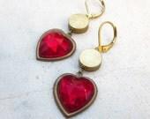 Red heart earrings, raw brass earrings, vintage glass hearts, romantic earrings, Valentine's gift earrings, vintage brass earring
