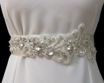 Rhinestone Applique Beaded Bridal Wedding Belt  Rhinestones Sash