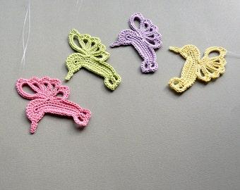 4 Crochet Hummingbird Ornaments -- Bright Pastel Assortment H4
