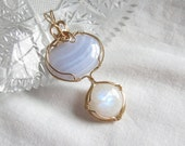 Rainbow Moonstone and Blue Lace Agate Pendant