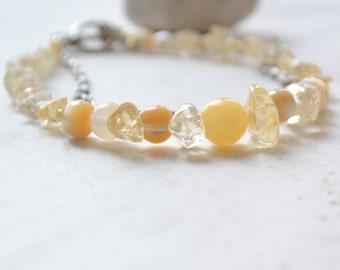 Citrine, Yellow Jade Prosperity Bracelet - Mother-of-Pearl, Freshwater Pearl, Healing Gemstones- Multistrand Handmade OOAK, Free US Shipping