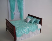 One Inch Scale, Mahogany dollhouse Bed, dressed in Aqua and white print