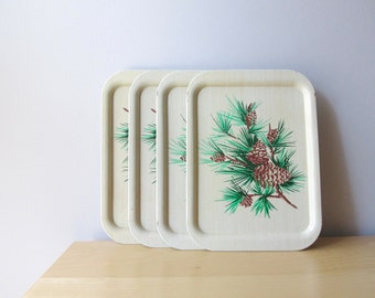 vintage pinecone tin TV trays set of four faux woodgrain cabin decor magnetic board