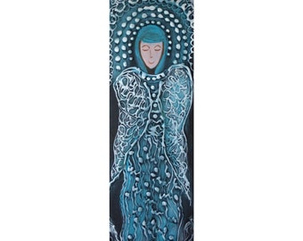 Sale WINTER ANGEL Original Modern Abstract Icon on Wood Spiritual Religious Painting 8x24