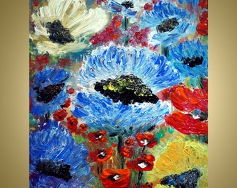 on SALE FLOWERS Original Impasto Oil Painting Spring Floral Wall Decor 16x20 Canvas Ready to Display