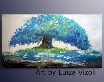 Blue Tree Painting 46x22 Canvas/ large canvas /Hand Made painting/ Ready to Ship/ Art by Luiza Vizoli