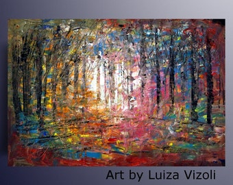 Hand Painted Landscape Original Painting Abstract Oil Impasto on Canvas by Luiza Vizoli
