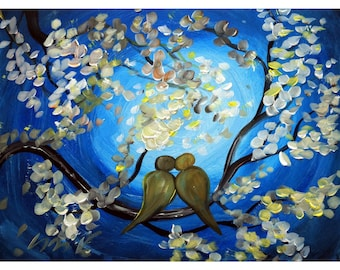 SALE Blue Moon Oil Painting Landscape Love Birds GLOWING TOGETHER Canvas ready to ship by Luiza Vizoli