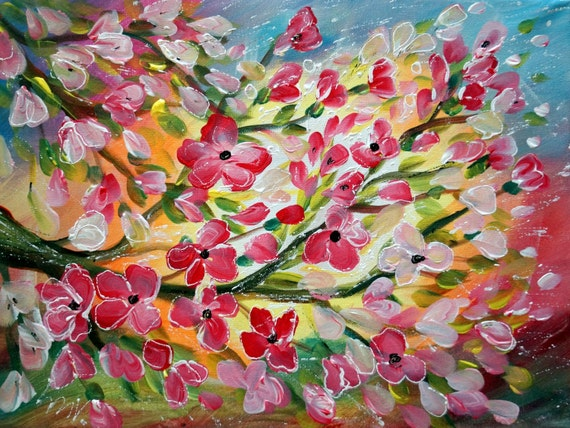 Original Abstract Whimsical Apple Trees Flowers Landscape Painting SPRING BLOSSOM by Luiza Vizoli