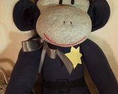 Unique Police Sock Monkey, Thin Blue Line, New Darker Blue, Limited Edition, Personalized, Toy Doll Stuffed Animal