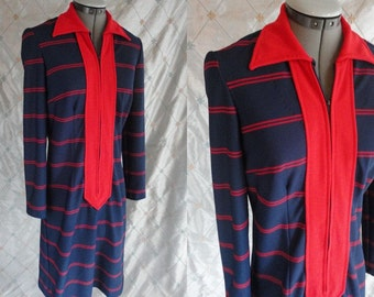 60s Dress // 70s Dress // Vintage 1960's 1970's Navy Blue and Red Striped Dress with long front zipper by HobNobber Naturally Size M