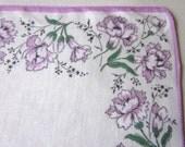 Vintage Handkerchief - Vintage Hanky - Hankie - Lilac Hanky - Carnations - 1960s Cotton Handkerchief - Floral Handkerchief