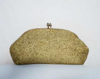 1950's Gold Beaded Clutch Hand Made In Japan - Free Shipping in USA
