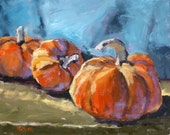 """Giclee Print - Still Life Oil Painting of Fall and Halloween Pumpkins, """"I'm Thinkin' Pie"""" 10 x 8"""