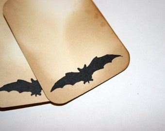 CLEARANCE - Bat Tag Set - Halloween Distressed and Stamped Shabby Chic Embellishments Gift Wrapping Home Decor
