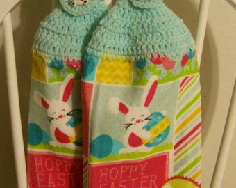 2 Crocheted Easter Hanging Kitchen Towels - Hoppy Easter