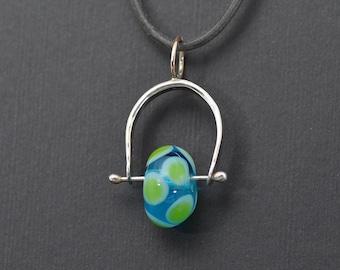 Blue with green dot lampwork bead stirup pendant