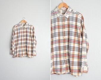 SALE / vintage men's '70s/'80s FALL PLAID long sleeve button-up shirt. size l xl.