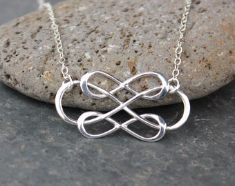 Triple Infinity Necklace - sterling silver infinity sign and delicate chain - Family - Love - Eternal - Endless - Forever - Infinite