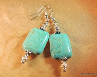Turquoise and Silver Earrings, Native Style Jewelry, Gemstone Jewelry, Handcrafted Jewelry, Turquoise Jewelry