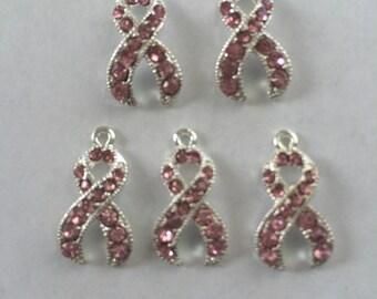 Rhinestone Pink Ribbon Charms- 5 charms- silver charms