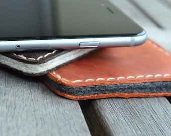 iPhone 5 | 4 | 3 Leather Sleeve  - PUMPKIN (Organic Leather)