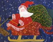 Santa and Reindeer quilted Christmas Table Runner