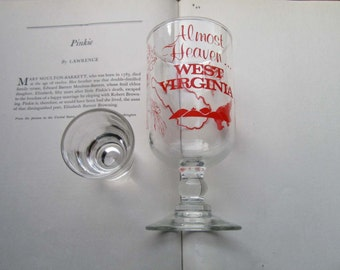 Vintage West Virginia Wine, State Glass Souvenir Glass