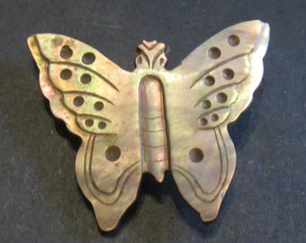 Carved Abalone Butterfly Brooch Vintage Antique 1940's