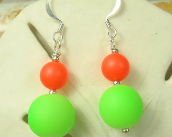 Neon earrings, green and orange earrings, dangle earrings
