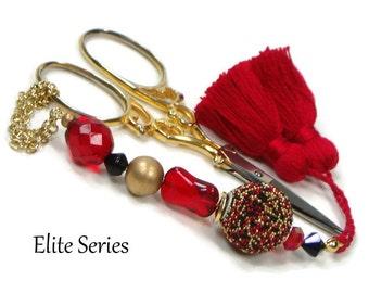 Scissor Fob Beaded Scissor Keeper Scissor Minder Elite Series Red Black Gold Needlepoint Quilting Sewing Cross Stitch