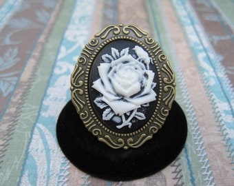 Black and white rose cameo adjustable ring