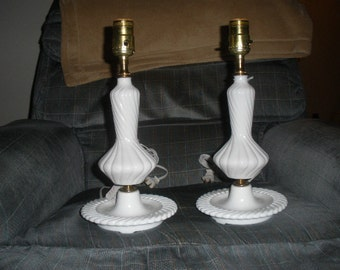 sale,REWIRED 'hard to find swirl style' beautiful/mid century/new sockets new wiring  PAIR 'real milk glass' lamps, cottage, possible FENTON
