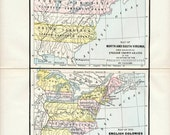 1900 Vintage Map showing Two Views of US History - Historical Map - Vintage US map