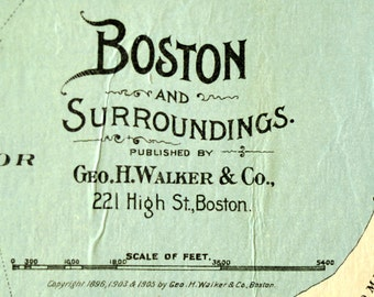 1905 Wall Size / Huge Wood Panel Mounted Map of Boston, Massachusetts and its surroundings / Ready to Hang