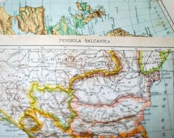 1907 Italian Antique Map of the Balkan Peninsula