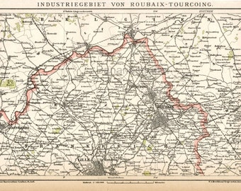 1897 Antique German Map of the Industrial Region of Roubaix-Tourcoing, France