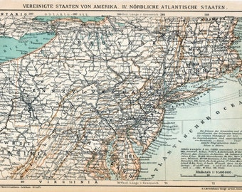 1894 Antique Map of the North Atlantic States of the US - German map
